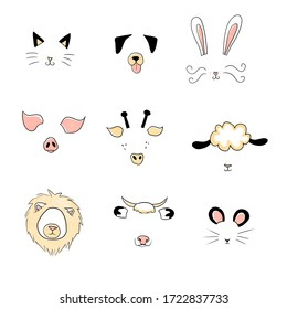 Stylized animal faces, icons with cat, dog, rabbit (bunny), pig, giraffe, goat, lion, cow and mouse.