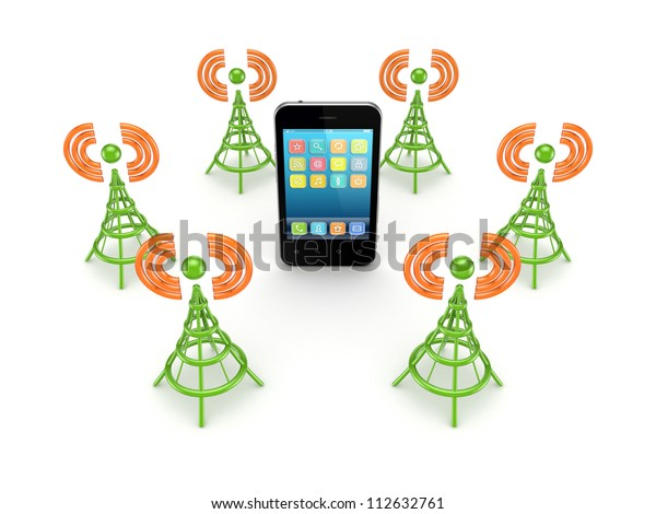 Stylized antennas around mobile phones.Isolated on white background.3d rendered.
