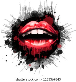 Stylized art with red lips