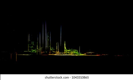 Stylized big oil refinery by night. Digital work over a photo of mine.