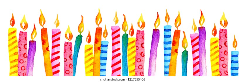 Stylized birthday candles in a row. Hand drawn cartoon watercolor sketch illustration isolated on white background