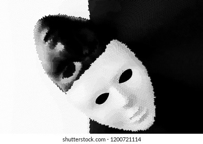 Stylized black and white masks halftone illustration