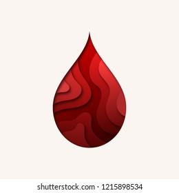 Stylized Blood Drop Symbol. Paper Cut Out Layer Art Illustration