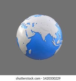 stylized blue and white globe, africa, arabia, asia, india, china,3d illustration