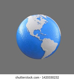 stylized blue and white globe,  pacific ocean, atlantic ocean, america, 3d illustration