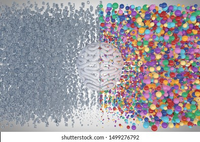 A stylized brain with the left side depicting an analytical, structured and logical mind, and the right side depicting a scattered, creative and colorful side - 3D render