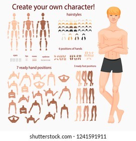 Stylized characters set for animation. Man model