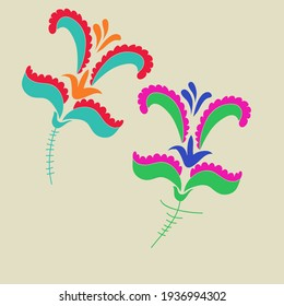 Stylized colored floral. Hand drawn.