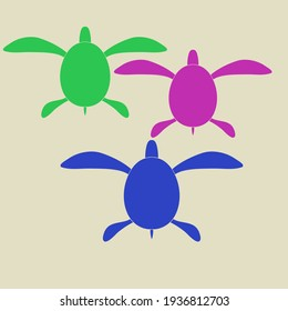 Stylized colored turtle. Hand drawn.