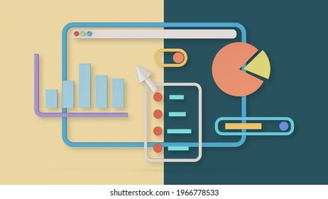 stylierter Computermonitor mit Finanzcharts und Bericht, pastellfarbene Farben, modernes Design (3D-Rendering)