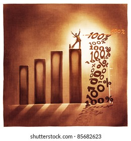 stylized conceptual business chart - 100% success metaphor (artistic loose stylized painting)