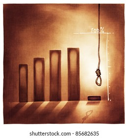 stylized conceptual business chart - no way out /giving-up metaphor (artistic loose stylized painting)