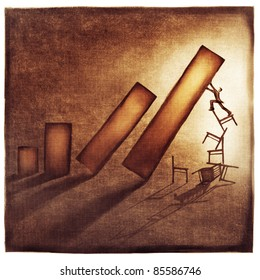 stylized conceptual business chart - success & support metaphor (artistic loose stylized painting)