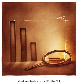 stylized conceptual business chart - success & recession metaphor (artistic loose stylized painting)