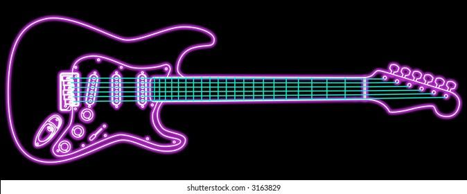 A stylized drawing of an electric guitar with neon piping