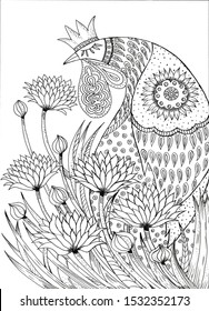 Stylized drawing of a fabulous rooster in a Royal crown inhaling the scent of flowers. Suitable for coloring.