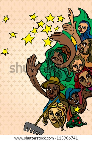 stylized drawing group workers throwing stars stock illustration