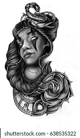 Stylized drawing in style of chicano tattoo