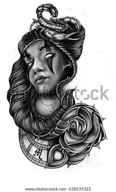 Stylized Drawing Style Chicano Tattoo Stock Illustration