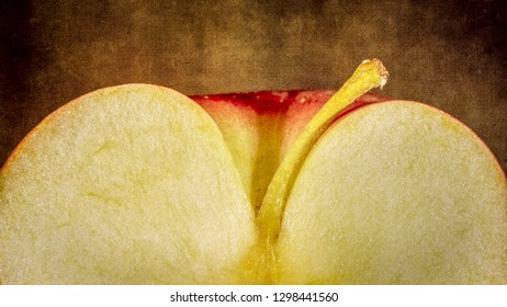 Stylized, faux painting rendition of a sliced apple with stem