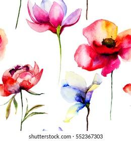 Stylized flowers illustration, seamless wallpaper
