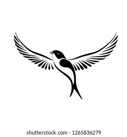 Stylized flying swallow label for logo concept. illustration isolated on white background.
