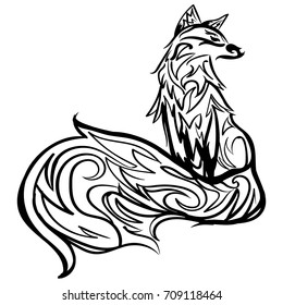 Stylized fox. Forest animals. Cute fox. Line art. Black and white drawing by hand. Graphic arts. Tattoo illustration