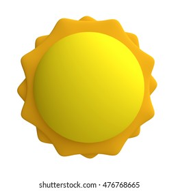 Stylized funny cartoon sun. Children clay, plastic or soft toy. 3d illustration