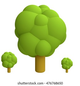 Stylized funny cartoon tree. Children clay, plastic or soft toy. 3d illustration