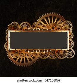 Stylized gold mechanical gears steampunk collage. Made of metal frame and clockwork details.