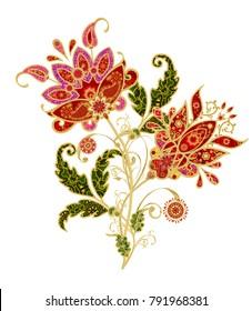 Stylized golden shiny flowers on high stems, elements of paisley decor. Isolated on white background.