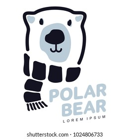 Stylized graphic polar bear logo templates. creative polar bear logotype templates, growth, development, power concept. Illustration on white background.