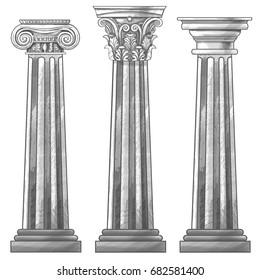 Stylized Greek columns. Doric. Ionic. Corinthian columns.