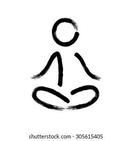 Stylized hand drawn calligraphy meditation symbol.