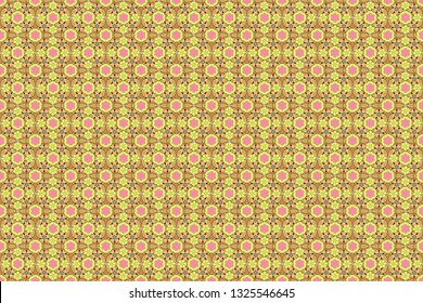 Stylized hand drawn little flowers. Raster flower miniprint seamless pattern in yellow, beige and pink colors.
