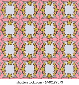 Stylized hand drawn little flowers. Flower miniprint seamless pattern in gray, beige and pink colors.