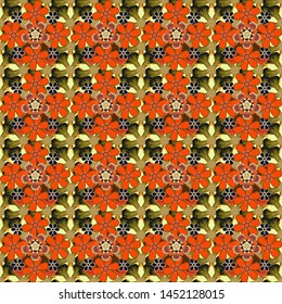 Stylized hand drawn little flowers. Flower miniprint seamless pattern in orange, beige and brown colors.