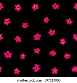 Stylized hand drawn little flowers. Flower miniprint seamless pattern in neutral and magenta colors on a black background.