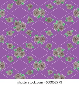 Stylized hand drawn little flowers. Flower miniprint seamless pattern in purple and brown colors.