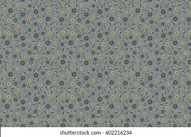 Stylized hand drawn little flowers. Raster flower miniprint seamless pattern on a neutral background.
