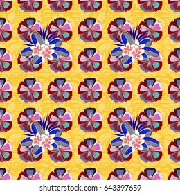 Stylized hand drawn little flowers. Flower miniprint seamless pattern in blue and red colors.