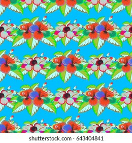 Stylized hand drawn little flowers. Flower miniprint seamless pattern in green and blue colors.
