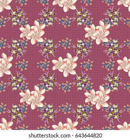 Stylized hand drawn little flowers. Flower miniprint seamless pattern in blue and brown colors.