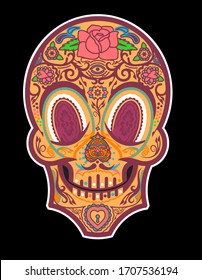 A stylized illustration of a decorated calavera inspired by 1930's cartoons, tattoo culture, decorative arts and Día de Muertos, part of a series of variations.