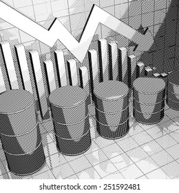 Stylized Illustration showing a stock market chart and four oil cans.