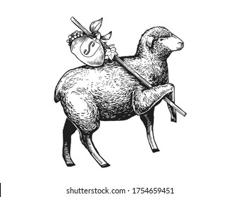 Stylized Illustration of the vagabond sheep wearing a cap on his headher head. Wandering Sheep with a bundle on a stick. Engraved vintage style illustration of the sheep . Can be used for Poster, Pack