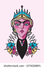 stylized illustration of a woman in a crown among flowers
