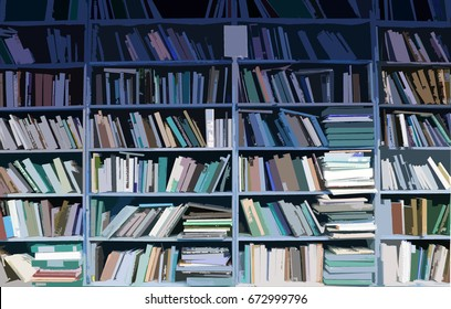 Stylized illustration of wooden bookshelves full of books