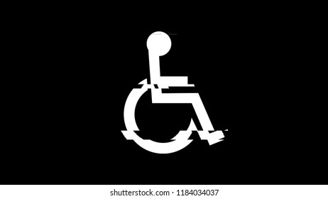 The stylized image of a person in a wheelchair (a symbol of access for disabled people), with a heavy digital glitch and noise effect.