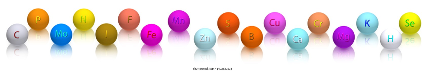 stylized image of vitamins and elements close-up